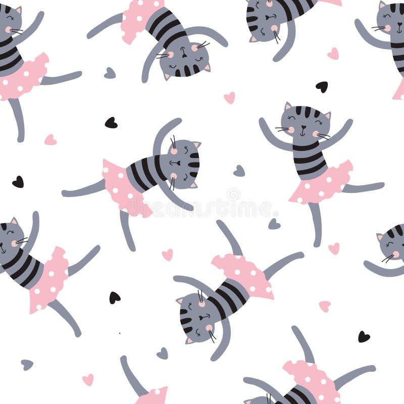 Χαριτωμένο dansing άνευ ραφής σχέδιο γατών διανυσματική απεικόνιση