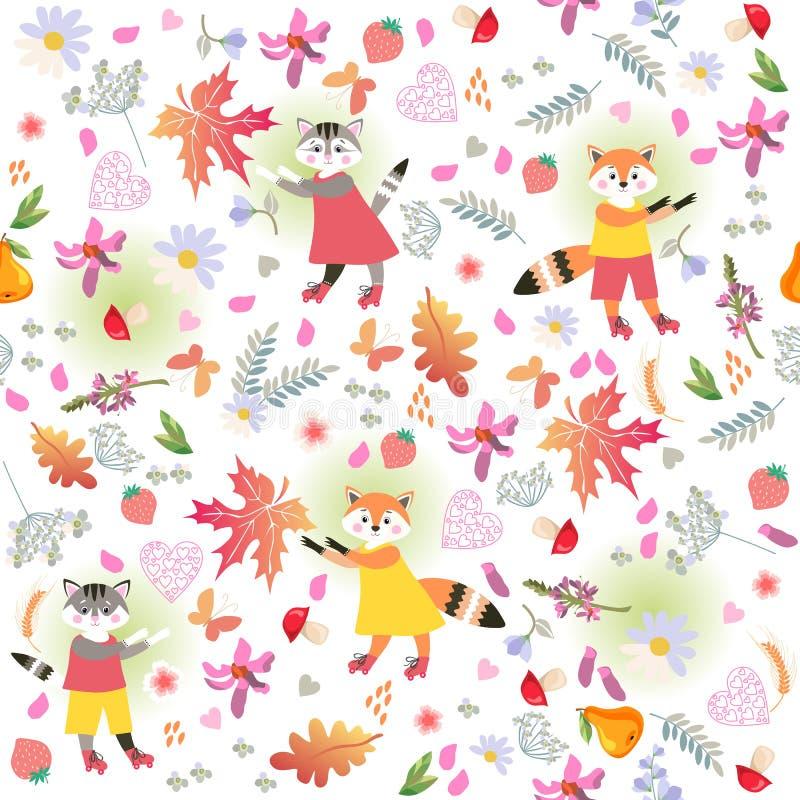 Χαριτωμένο ditsy floral υπόβαθρο με τα μικρές αστείες γατάκια και τις αλεπούδες Εικόνα για τα παιδιά άνευ ραφής διανυσματική ταπε απεικόνιση αποθεμάτων