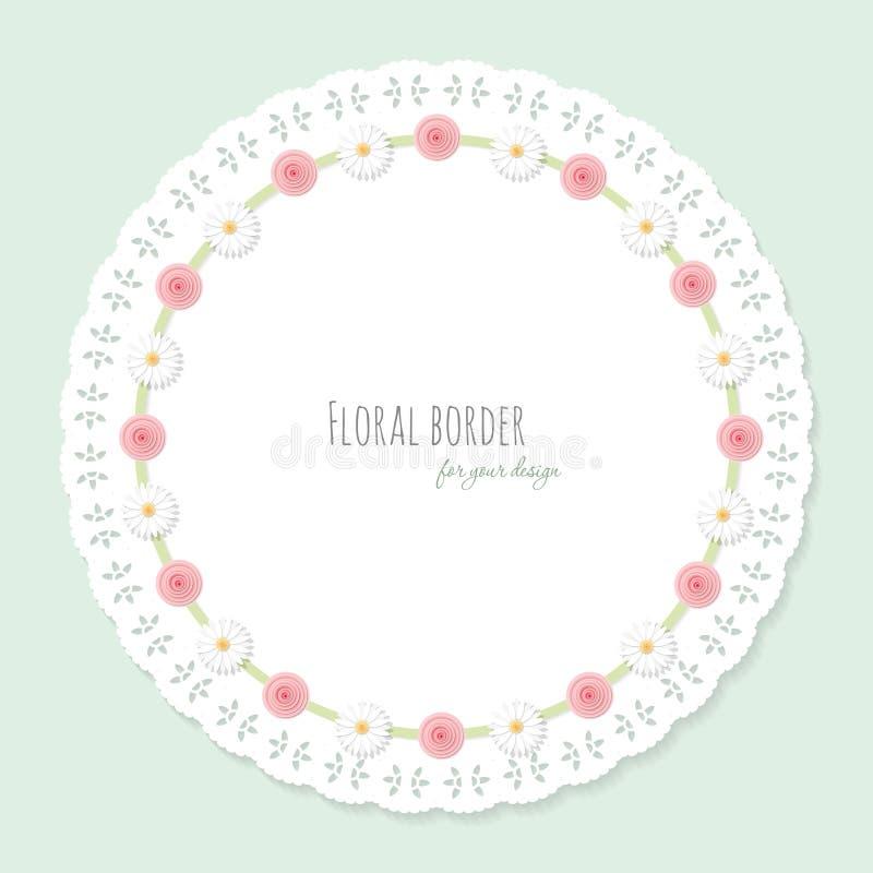 Χαριτωμένο doily πλαίσιο που διακοσμείται με τα λουλούδια Shabby κομψό σχέδιο για το ντους μωρών διανυσματική απεικόνιση