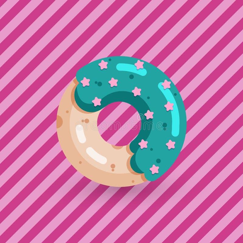 Χαριτωμένο doughnut στο ρόδινο υπόβαθρο με τα λωρίδες διανυσματική απεικόνιση
