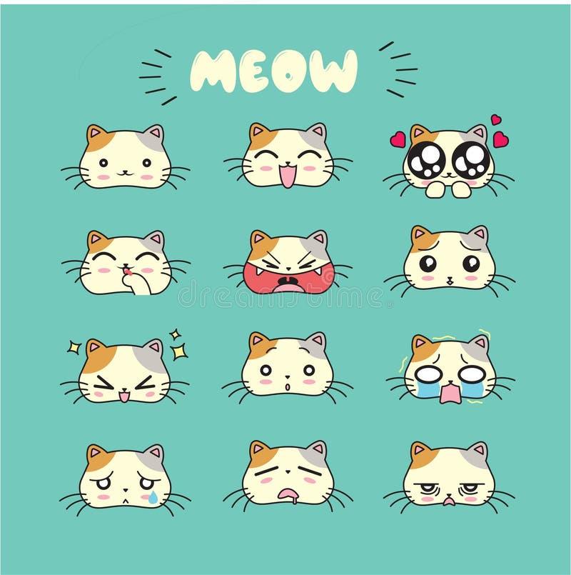 Χαριτωμένο emoji γατών, εικονίδια smiley καθορισμένα διανυσματική απεικόνιση