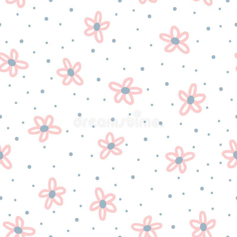 Χαριτωμένο floral άνευ ραφής σχέδιο για τα παιδιά Επαναλαμβανόμενα λουλούδια που σύρονται με το χέρι με το τραχύ σημείο βουρτσών  απεικόνιση αποθεμάτων