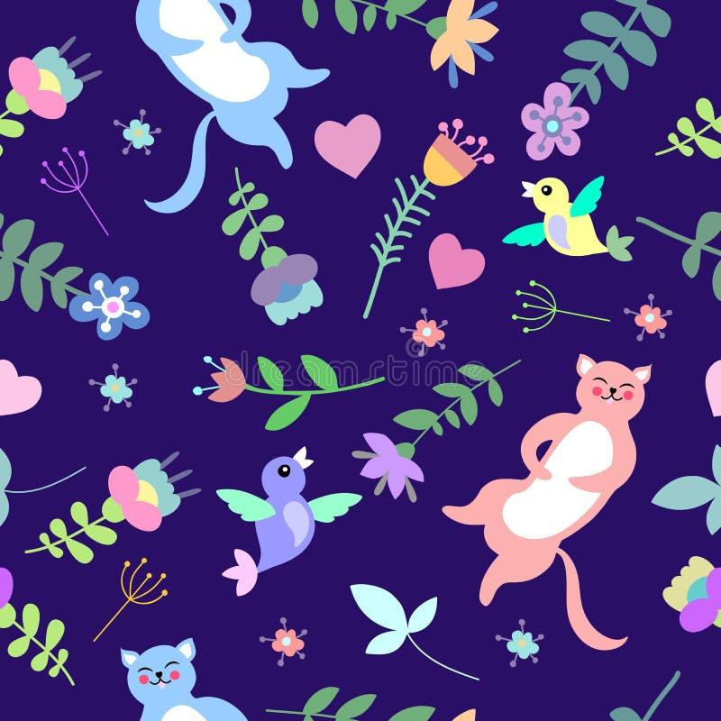 Χαριτωμένο floral άνευ ραφής σχέδιο με τις γάτες, τα πουλιά και τα λουλούδια απεικόνιση αποθεμάτων