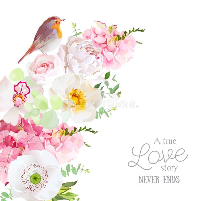 Χαριτωμένο floral ημισεληνοειδές διανυσματικό πλαίσιο μορφής με peony, ορχιδέα, hydr ελεύθερη απεικόνιση δικαιώματος