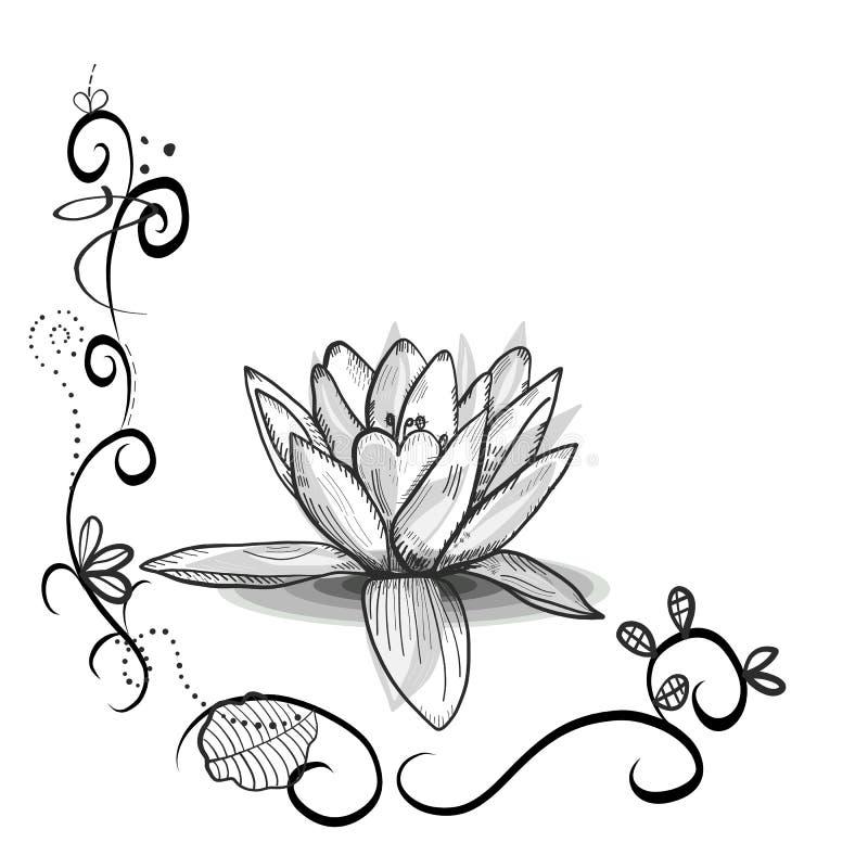 Χαριτωμένο floral πλαίσιο με το λουλούδι Lotus ελέγξτε την εικόνα σχεδίου η παρόμοια δερματοστιξία χαρτοφυλακίων μου Μαύρα άσπρα  απεικόνιση αποθεμάτων