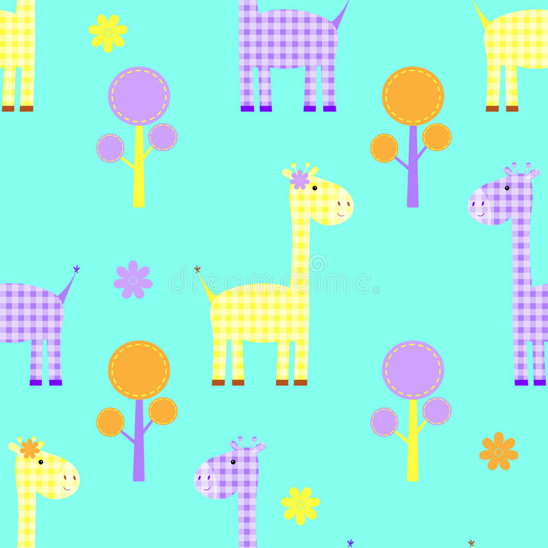 Χαριτωμένο giraffe άνευ ραφής παιδιάστικο σχέδιο απεικόνιση αποθεμάτων