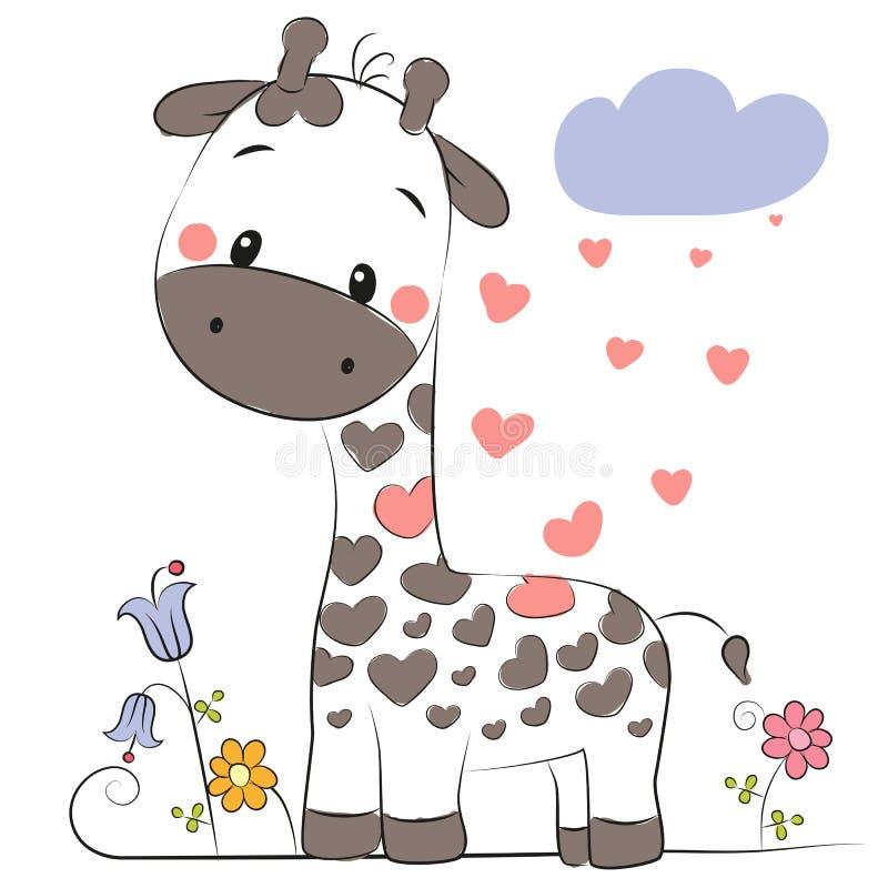 χαριτωμένο giraffe κινούμενων σχεδίων απεικόνιση αποθεμάτων