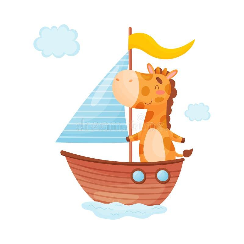 Χαριτωμένο giraffe κολυμπά σε μια βάρκα με ένα πανί E ελεύθερη απεικόνιση δικαιώματος