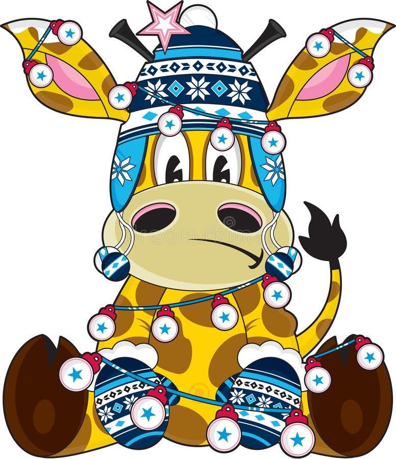 Χαριτωμένο Giraffe Χριστουγέννων καπέλων Bobble κινούμενων σχεδίων απεικόνιση αποθεμάτων