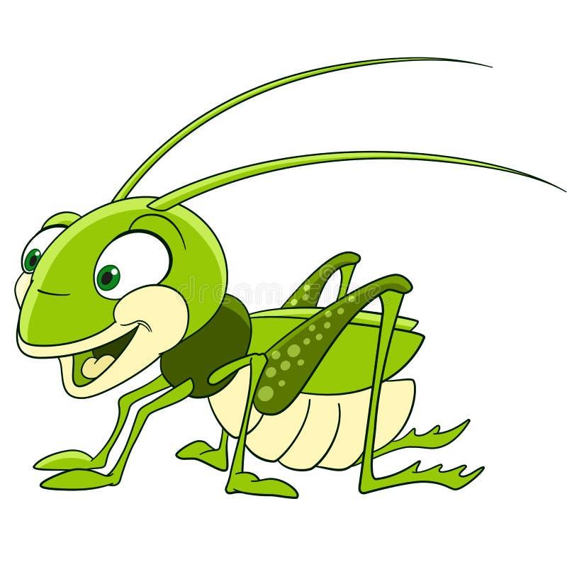 Χαριτωμένο grasshopper κινούμενων σχεδίων απεικόνιση αποθεμάτων
