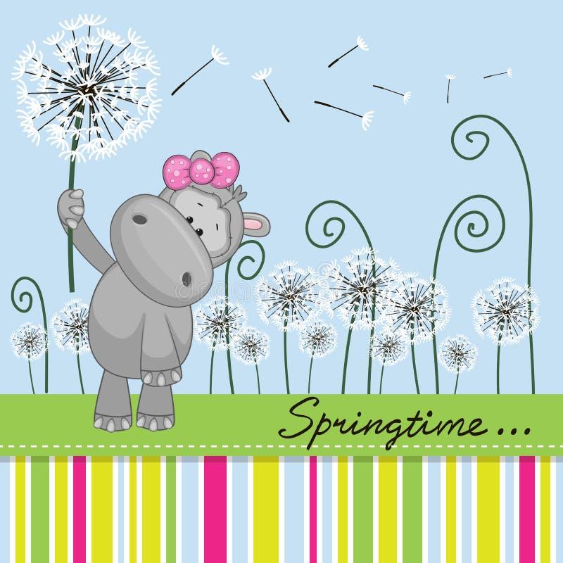 Χαριτωμένο Hippo με την πικραλίδα ελεύθερη απεικόνιση δικαιώματος