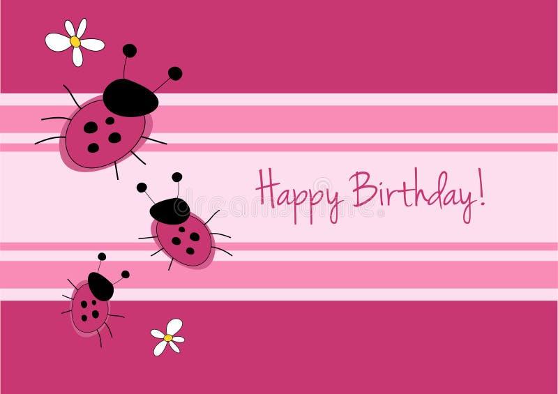 χαριτωμένο ladybirg καρτών γενεθλίων διανυσματική απεικόνιση
