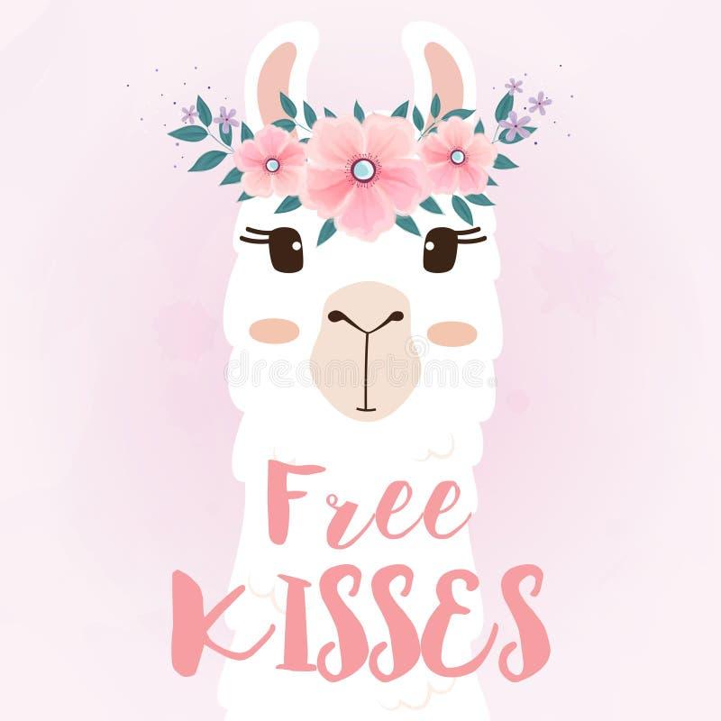 Χαριτωμένο llama κεφάλι με την κορώνα λουλουδιών ελεύθερη απεικόνιση δικαιώματος