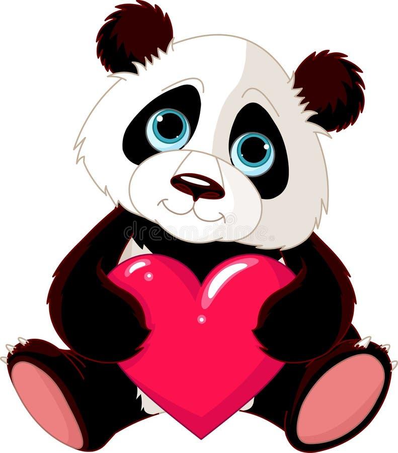 χαριτωμένο panda καρδιών ελεύθερη απεικόνιση δικαιώματος