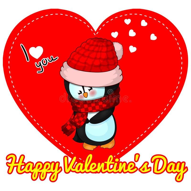 Χαριτωμένο penguin, διανυσματική απεικόνιση, ημέρα βαλεντίνων ` s του ST καρτών σχεδίου διανυσματική απεικόνιση