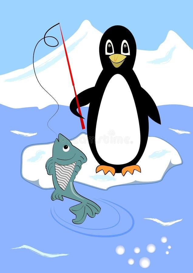 Χαριτωμένο penguin που αλιεύει στο επιπλέον πάγο πάγου, penguin κινούμενα σχέδια με τα πράσινα ψάρια στο γάντζο ελεύθερη απεικόνιση δικαιώματος