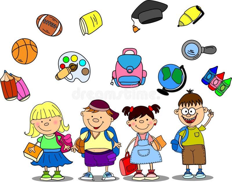 χαριτωμένο schoolboys διάνυσμα μαθ& απεικόνιση αποθεμάτων
