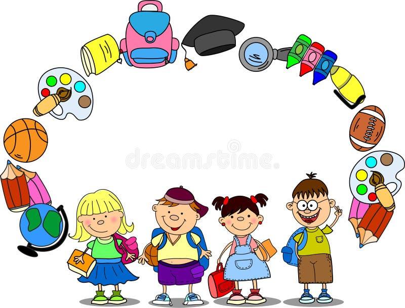χαριτωμένο schoolboys διάνυσμα μαθ& διανυσματική απεικόνιση