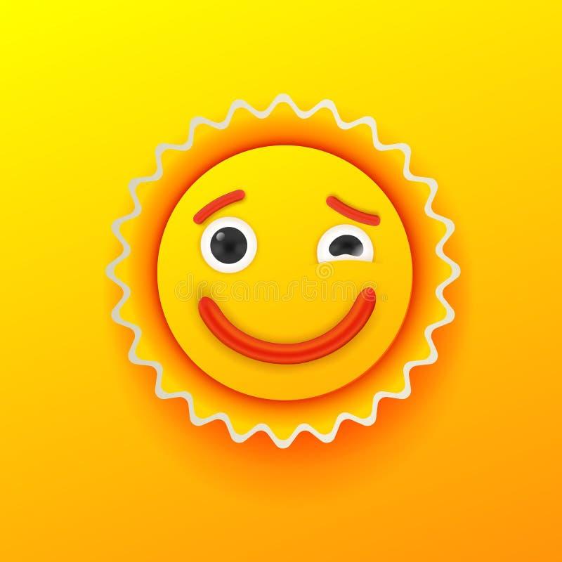 Χαριτωμένο shinny χαμόγελο ήλιων διανυσματική απεικόνιση