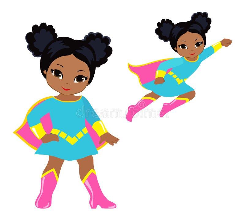 Χαριτωμένο superhero σύνολο τέχνης συνδετήρων κοριτσιών διανυσματικό απεικόνιση αποθεμάτων