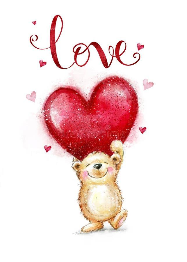Χαριτωμένο Teddy αντέχει ερωτευμένο με τη μεγάλη κόκκινη καρδιά Κάρτα ημέρας βαλεντίνων διανυσματική απεικόνιση