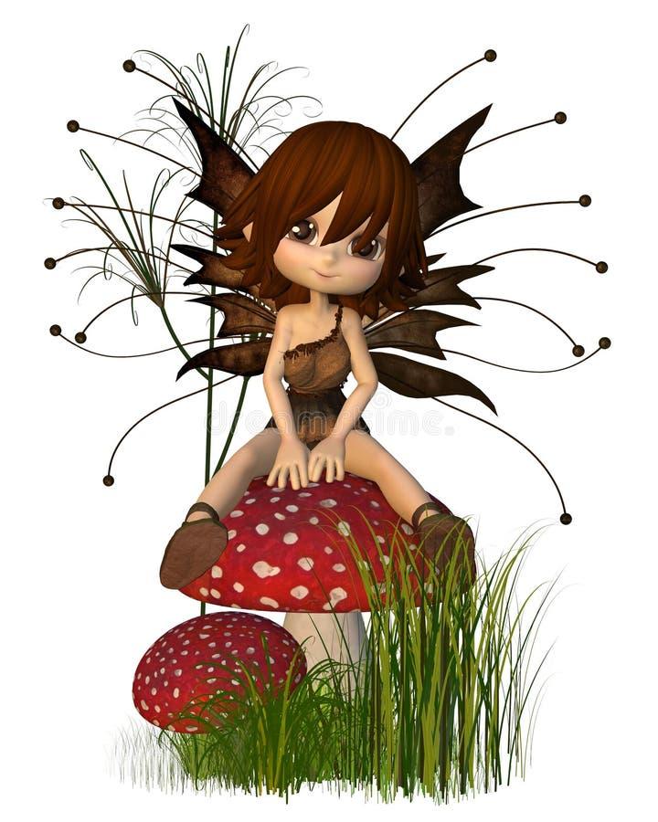 χαριτωμένο toadstool Toon νεράιδων φθ&iota διανυσματική απεικόνιση