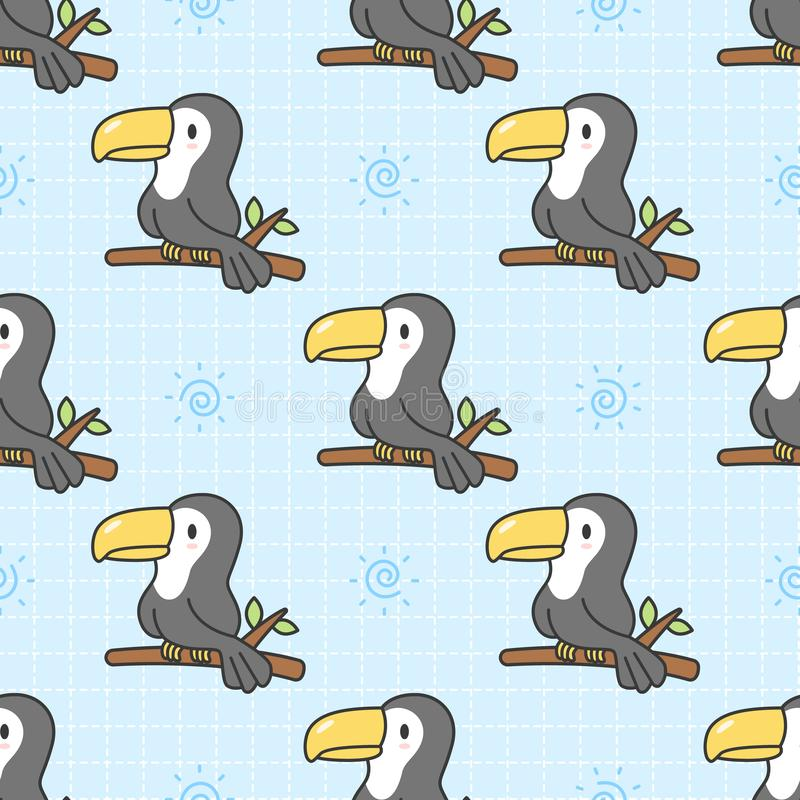 Χαριτωμένο toucan άνευ ραφής υπόβαθρο σχεδίων διανυσματική απεικόνιση