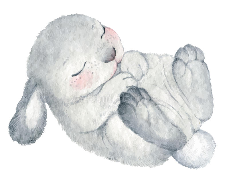Χαριτωμένο watercolor κουνελιών ελεύθερη απεικόνιση δικαιώματος
