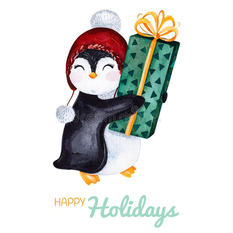Χαριτωμένο watercolor penguin με το δώρο Χριστουγέννων Χρωματισμένη χέρι απεικόνιση διακοπών απεικόνιση αποθεμάτων