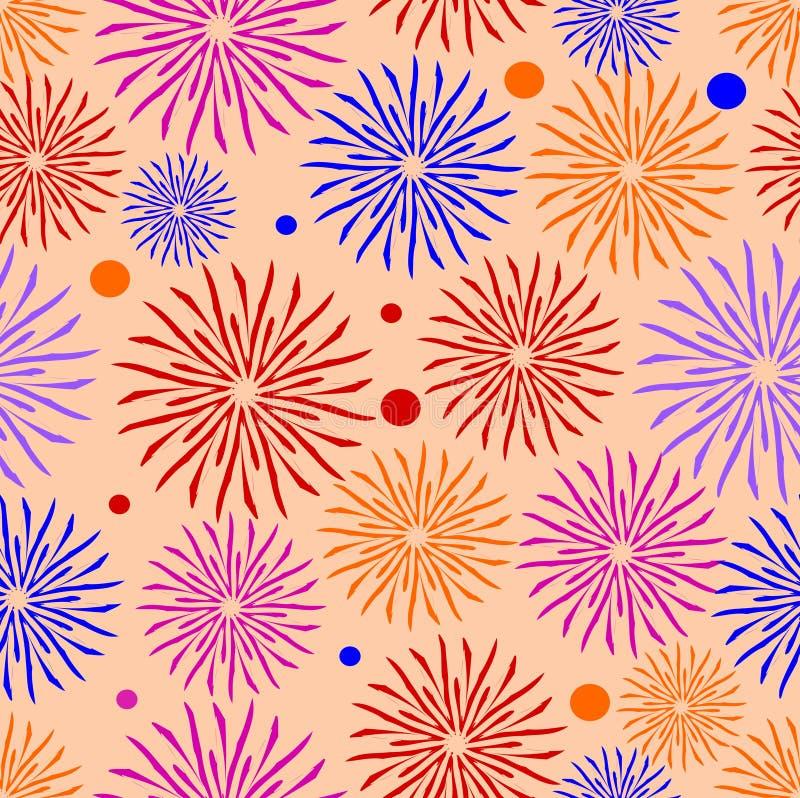 Χαρούμενα υφαντικά σχέδια στο υπόβαθρο κοραλλιών, ζωηρόχρωμο άνευ ραφής σχέδιο λουλουδιών, σχέδιο για την κλινοστρωμνή, κάλυμμα,  απεικόνιση αποθεμάτων