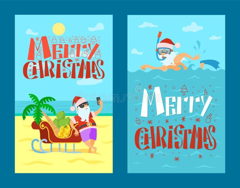 Χαρούμενα Χριστούγεννα, Άγιος Βασίλης, βατραχοπέδιλα μασκών ελκήθρων διανυσματική απεικόνιση