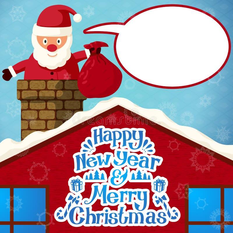 Χαρούμενα Χριστούγεννα Άγιος Βασίλης που αναρριχείται διανυσματική απεικόνιση