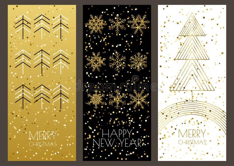Χαρούμενα Χριστούγεννα ή ευχετήριες κάρτες καλής χρονιάς καθορισμένη διανυσματική απεικόνιση