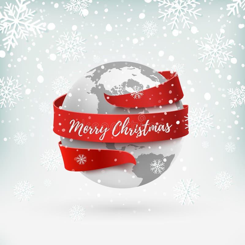 Χαρούμενα Χριστούγεννα, γήινο εικονίδιο με την κόκκινη κορδέλλα γύρω από το απεικόνιση αποθεμάτων