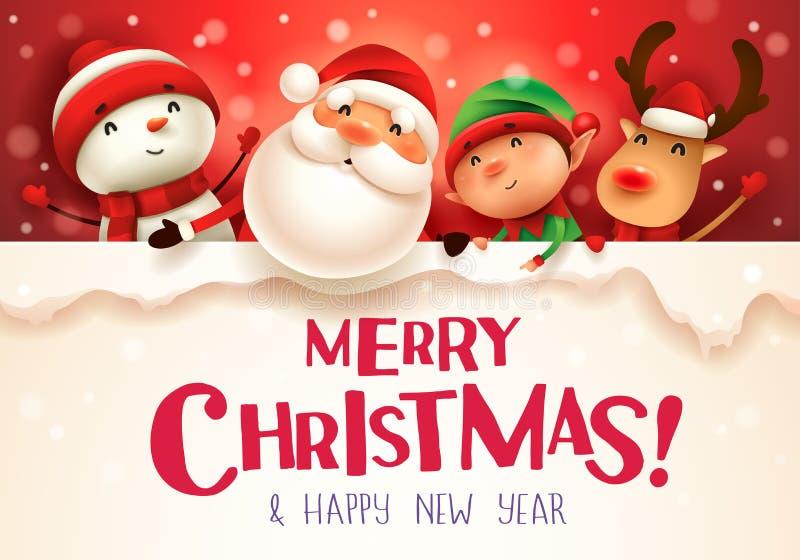 Χαρούμενα Χριστούγεννα! Ευτυχείς σύντροφοι Χριστουγέννων με τη μεγάλη πινακίδα στο χειμερινό τοπίο σκηνής χιονιού Χριστουγέννων απεικόνιση αποθεμάτων