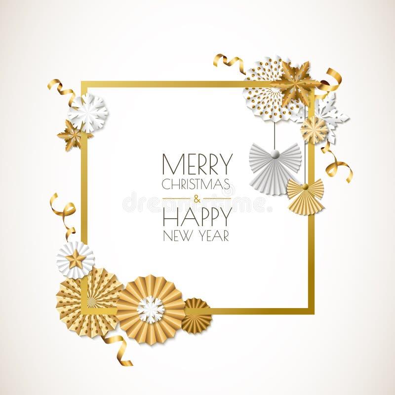 Χαρούμενα Χριστούγεννα, ευχετήρια κάρτα καλής χρονιάς Διανυσματικά χρυσά αστέρια, κορδέλλες, anggels και snowflakes εγγράφου απεικόνιση αποθεμάτων