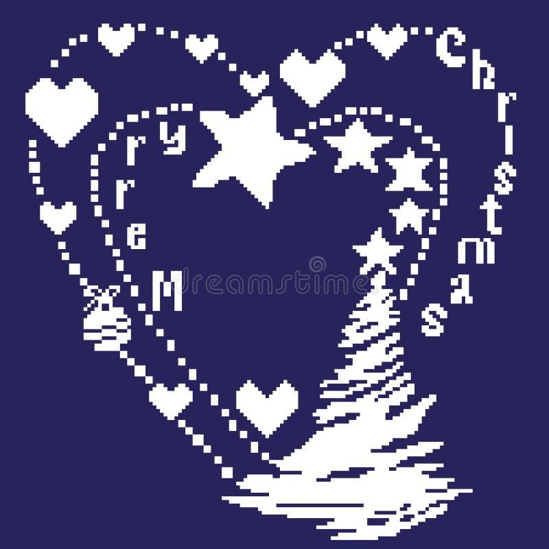 Χαρούμενα Χριστούγεννα ευχετήριων καρτών με τις ερυθρελάτες, τα αστέρια και τις καρδιές στο λευκό σε ένα μπλε υπόβαθρο που χρωματ διανυσματική απεικόνιση