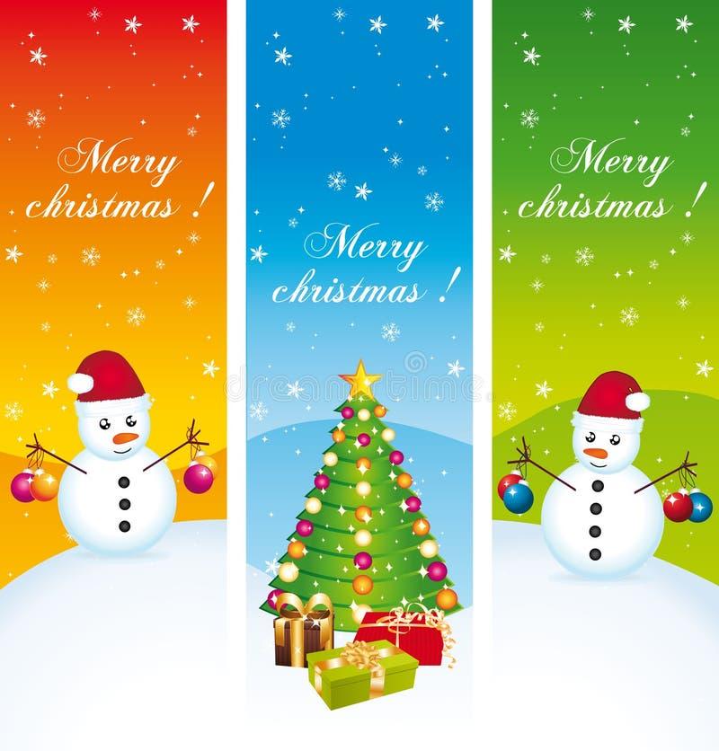 Χαρούμενα Χριστούγεννα. Κάθετα εμβλήματα. Σύνολο ΙΙ. διανυσματική απεικόνιση