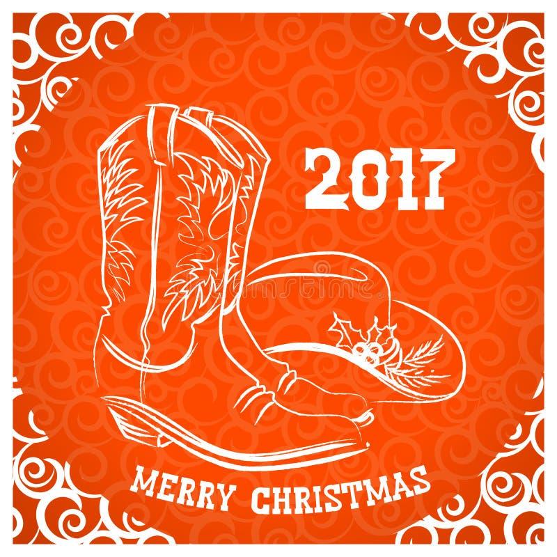 Χαρούμενα Χριστούγεννα κάουμποϋ με τις μπότες κάουμποϋ και το δυτικό καπέλο decorat διανυσματική απεικόνιση
