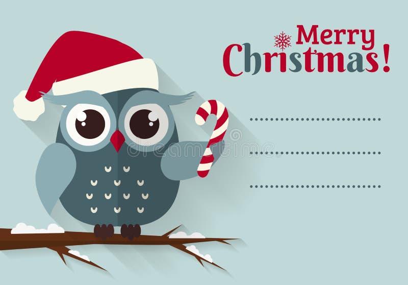 Χαρούμενα Χριστούγεννα! Κάρτα με τη χαριτωμένη κουκουβάγια και μια θέση για το κείμενο ελεύθερη απεικόνιση δικαιώματος