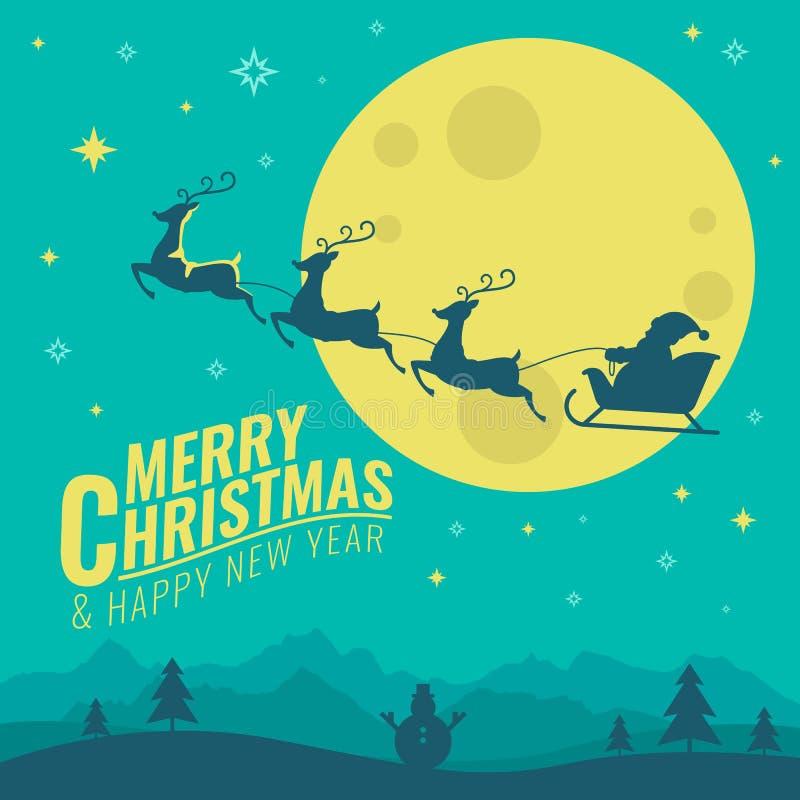 Χαρούμενα Χριστούγεννα και έμβλημα καλής χρονιάς με τα ελάφια που τραβούν το έλκηθρο Santa ` s στο διανυσματικό σχέδιο σκηνής νύχ ελεύθερη απεικόνιση δικαιώματος