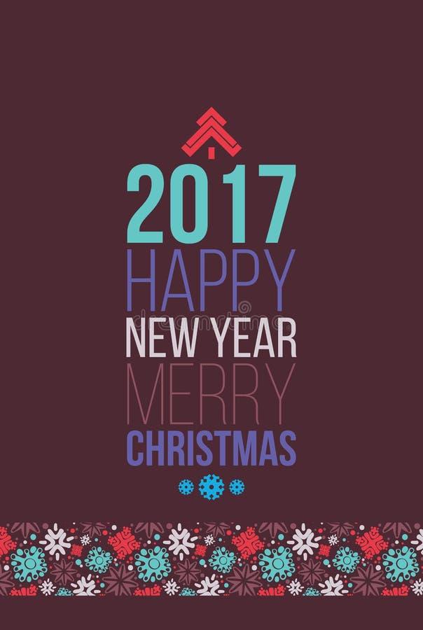 Χαρούμενα Χριστούγεννα και αφίσα καλής χρονιάς 2016, ευχετήρια κάρτα ελεύθερη απεικόνιση δικαιώματος