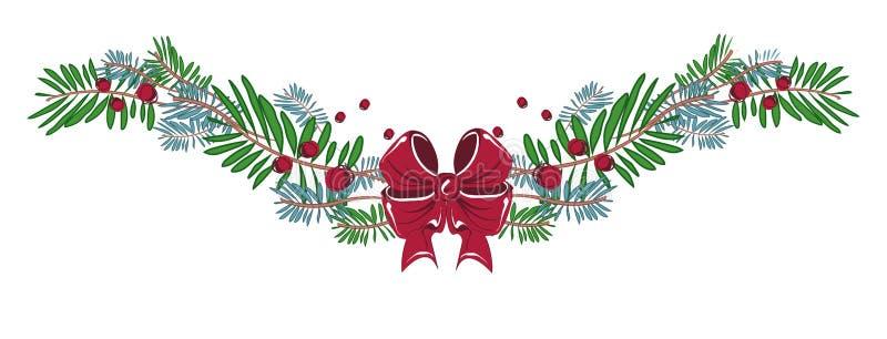 Χαρούμενα Χριστούγεννα και διακοσμήσεις καλής χρονιάς με την κορδέλλα, τόξο, διανυσματική απεικόνιση