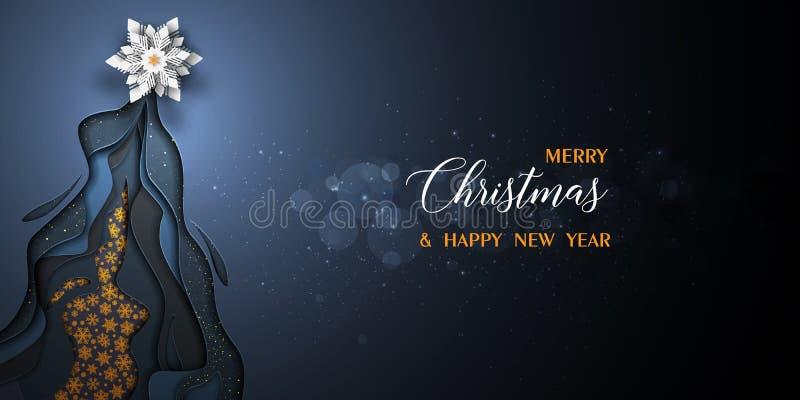 Χαρούμενα Χριστούγεννα και διανυσματικό μαύρο και χρυσό σχέδιο καλής χρονιάς 2019 απεικόνιση αποθεμάτων