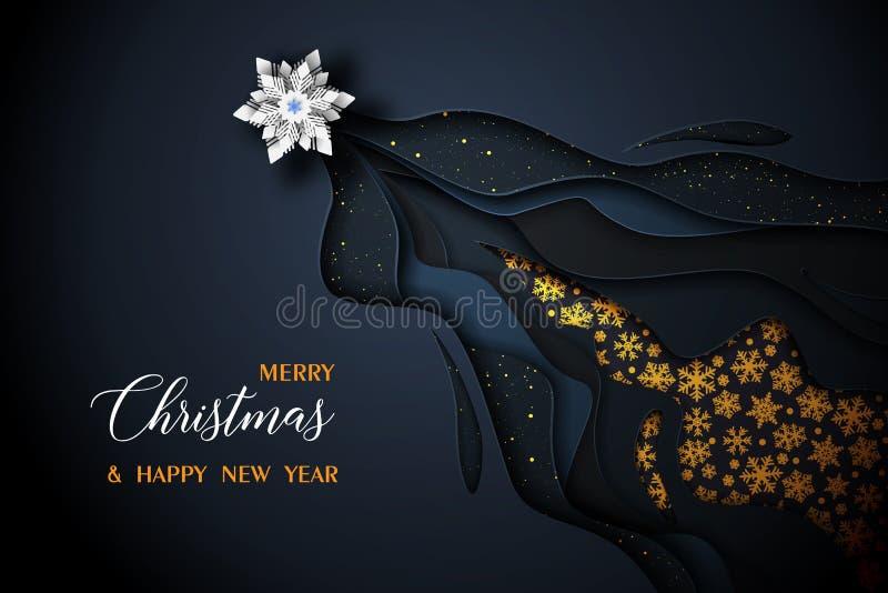 Χαρούμενα Χριστούγεννα και διανυσματικό μαύρο και χρυσό σχέδιο καλής χρονιάς 2019 ελεύθερη απεικόνιση δικαιώματος