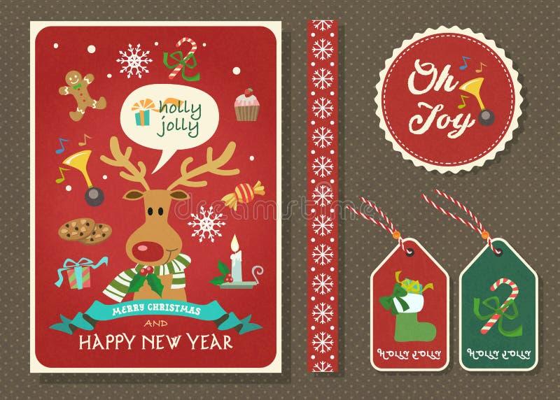 Χαρούμενα Χριστούγεννα και διανυσματικό σύνολο ευχετήριων καρτών καλής χρονιάς ελεύθερη απεικόνιση δικαιώματος