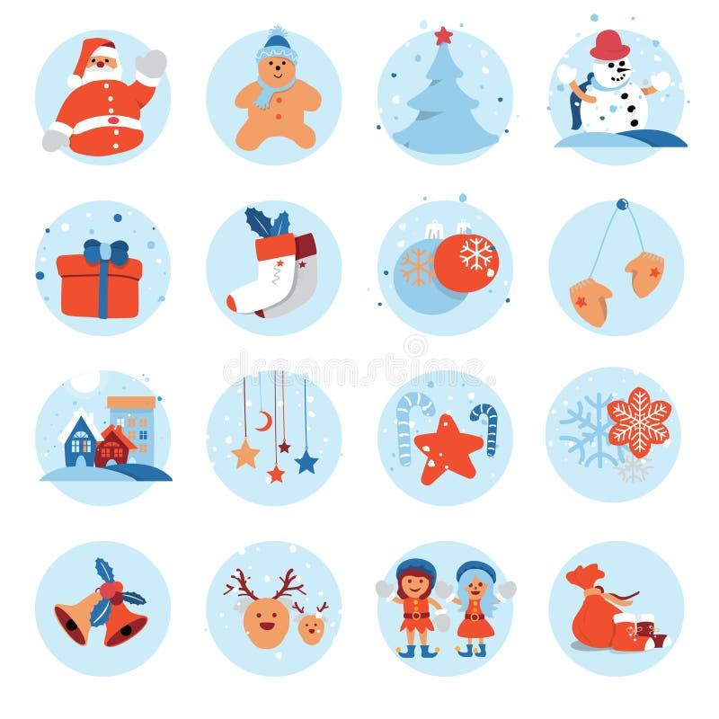 Χαρούμενα Χριστούγεννα και επίπεδος χαριτωμένος χαρακτήρας κινουμένων σχεδίων εικονιδίων καλής χρονιάς επίσης corel σύρετε το διά απεικόνιση αποθεμάτων