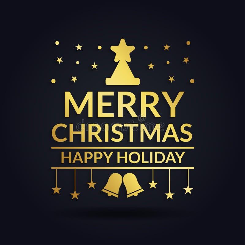 Χαρούμενα Χριστούγεννα και ευτυχές υπόβαθρο σχεδίου πολυτέλειας διακοπών μαύρο διανυσματική απεικόνιση