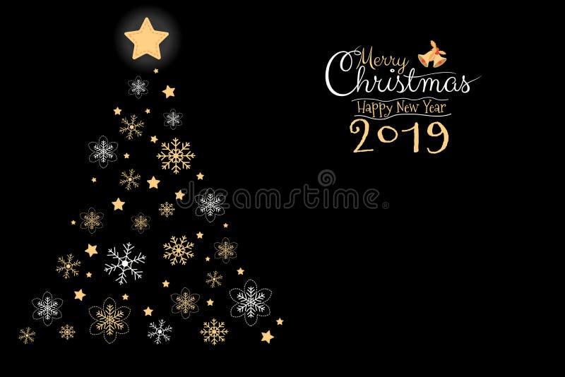Χαρούμενα Χριστούγεννα και ευχετήρια κάρτα καλής χρονιάς 2019, έμβλημα, snowflake, χειρόγραφο χεριών καλλιγραφίας απεικόνιση αποθεμάτων