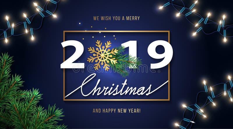 Χαρούμενα Χριστούγεννα και ευχετήρια κάρτα καλής χρονιάς 2019 Υπόβαθρο Χριστουγέννων με τις επιθυμίες εποχής, λάμποντας χρυσό Sno ελεύθερη απεικόνιση δικαιώματος